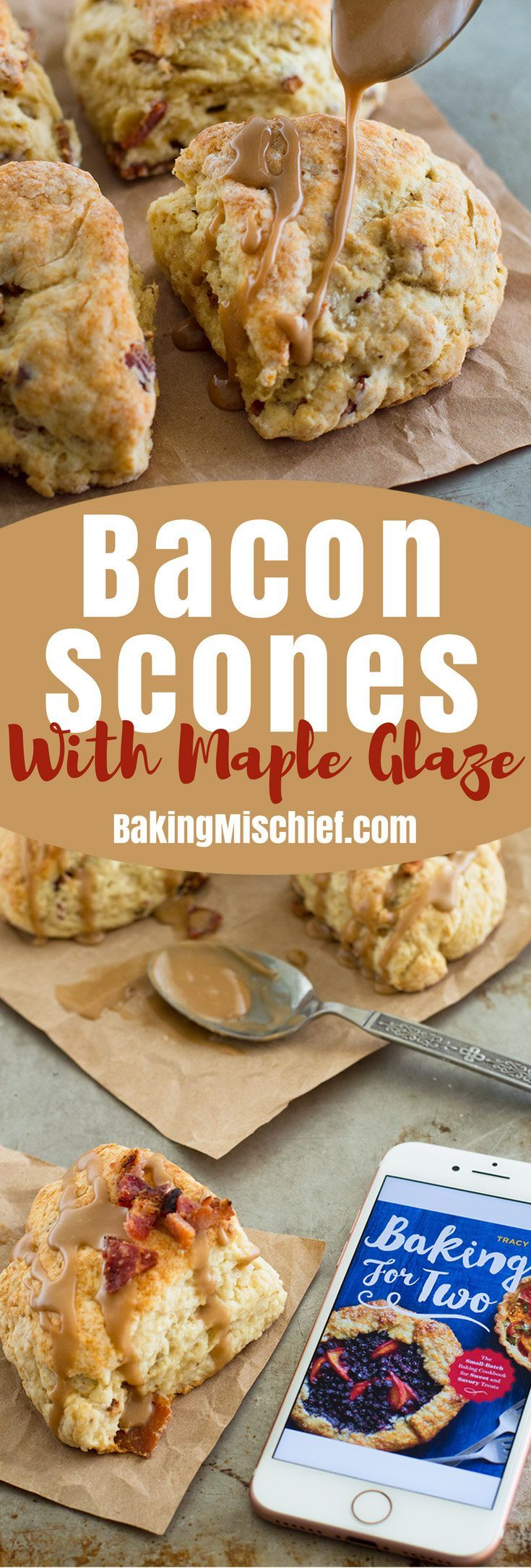 These small-batch Bacon Scones with Maple Glaze are one of my favorite recipes from my new cookbook, Baking for Two! Recipe includes nutritional information. From BakingMischief.com