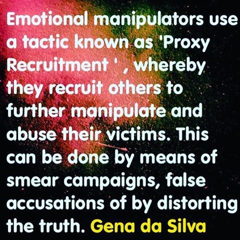 Abuse by proxy is one of malignant narcissist's regularly deployed tactics. Through lies and deception narcissists manipulate third parties to stalk, harass, slander, demean, and bully their targets. #narcissistsarelosers #narcissistsareevil #narcissistsareliars