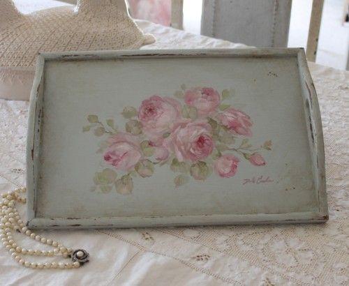 Shabby Beautiful Vintage Roses Tray!  Love this, I want!!