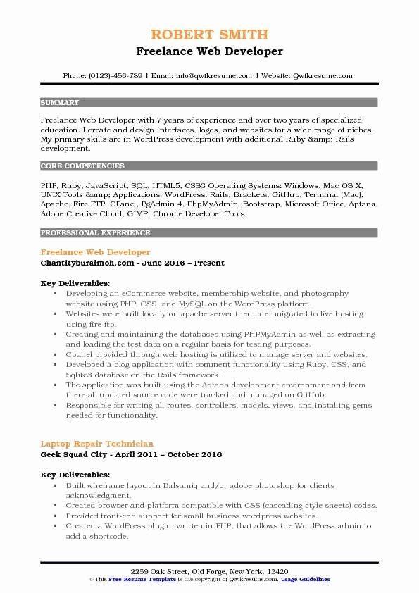 Web Developer Resume Sample Best Of Freelance Web Developer Resume Samples Job Resume Samples Manager Resume Resume Objective Examples