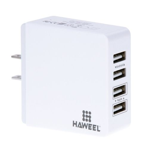 HAWEEL 4 Ports USB Max 3.1A Travel Wall Charger for Android & Apple Mobile Phones, US Plug(White)