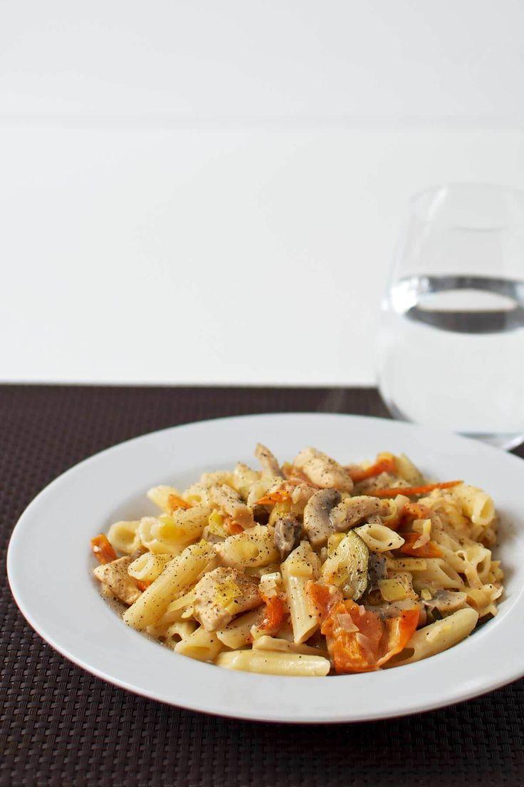 Pasta med kylling og cremet flødesauce