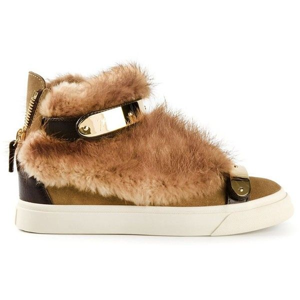 Giuseppe Zanotti Design fur trim hi-top sneakers ($1,300) ❤ liked on Polyvore featuring shoes, sneakers, men, zzz winter storage, round toe sneakers, round cap, giuseppe zanotti shoes, high top suede shoes and round toe shoes