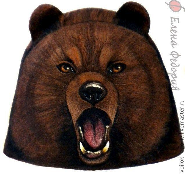 """Купить Шапка для бани """"Медведь бурый"""" - коричневый, войлок, медведь, шапка для бани, аксессуары для бани"""