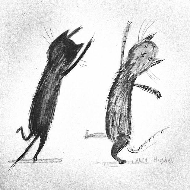 Laura Hughes - illustrator: Cat Dance может быть, станешь весёленькой, если рисовать танцующих котят?