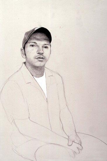David Hockney David Fernandez Jr. Los Angeles. 23rd August 1999, 1999 pencil & white crayon on grey paper using a camera lucida 22 1/4 x 15 in (56.5 x 38.1 cm) 23 5/8 x 16 3/8 in (59.4 x 41.6 cm) (fr)