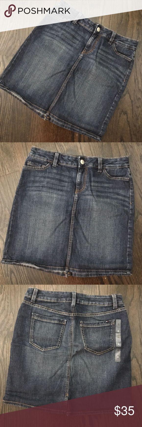 """New Tommy Hilfiger Denim Mini Skirt Brand new without tags! Cute denim skirt by Tommy Hilfiger. 17.5"""" long. 15"""" waist. Denim has a little stretch. Size 4. Tommy Hilfiger Skirts Mini"""