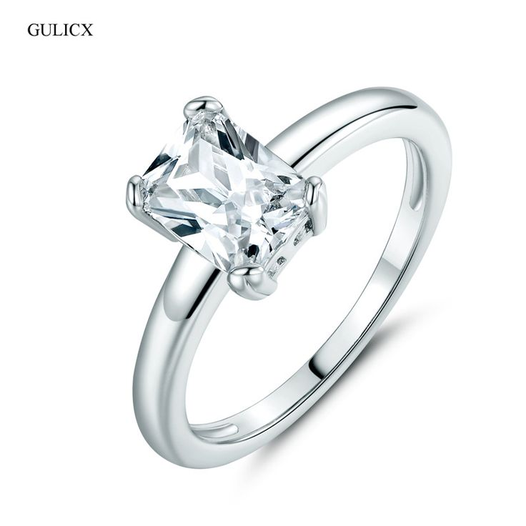 GULICX Fashion Simple Princess Cut Large Crystal Ring for Women  White Gold Plated Ring CZ Zirconia Band Wedding Jewelry R114