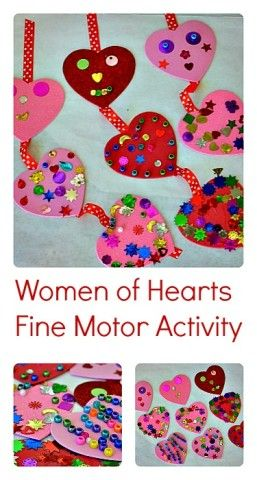 Valentines Day Fine Motor Activity making a hearts mobile #valentinesdaycrafts