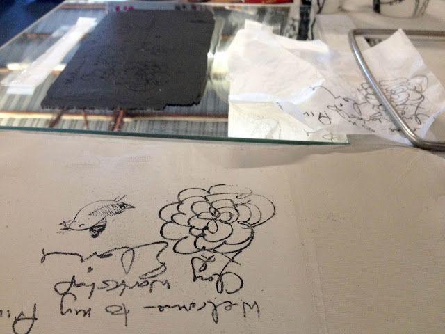 ELAINE BRADLEY: Printing on clay. Tissue paper lesson.