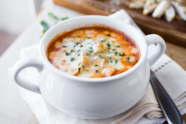 Cheesy Grilled Chicken Parmesan Soup, and Filling an Empty Bowl with Something that Sustains post image