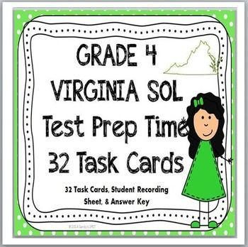 Grade 4 VIRGINIA SOL MATH TASK CARDS...great for spring in 4th grade or BACK-TO-SCHOOL in 5th grade!