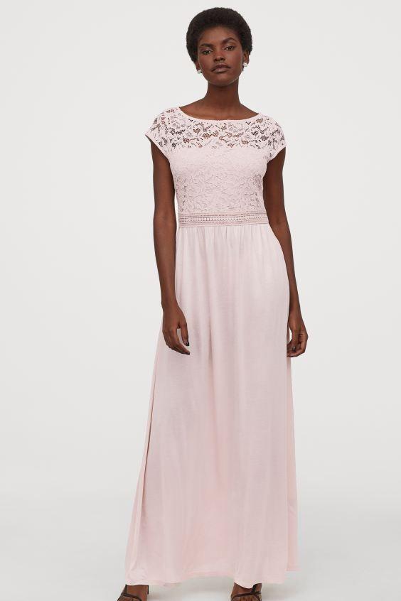 Maxikleid Mit Spitze In 2020 Kleid Spitze Puder Rosa Maxi Kleider