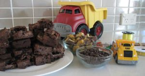 Honeycomb Chocolate Brownies for Construction Party by The Love of Cake Blog. Visit www.theloveofcake... for easy steps.