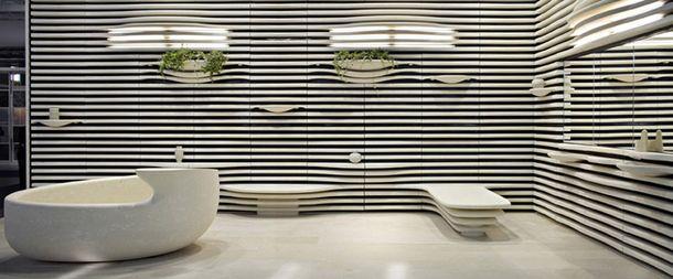 Photo Grassi Pietre speical cladding for spa area in Pietra di Vicenza . Massive bathtub