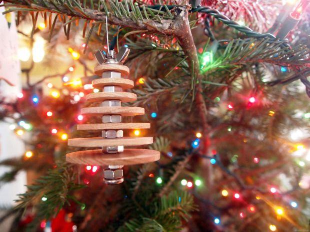 DIY Industrial Christmas Ornament with wood and metal  http://makezine.com/2014/12/25/diy-industrial-christmas-ornament/  #easywoodworking #scrollsawproject or fretsaw  http://www.sawdustandembryos.com/2013/12/diy-industrial-christmas-tree-ornament.html #hardware #woodscraps #lastminuteDIY