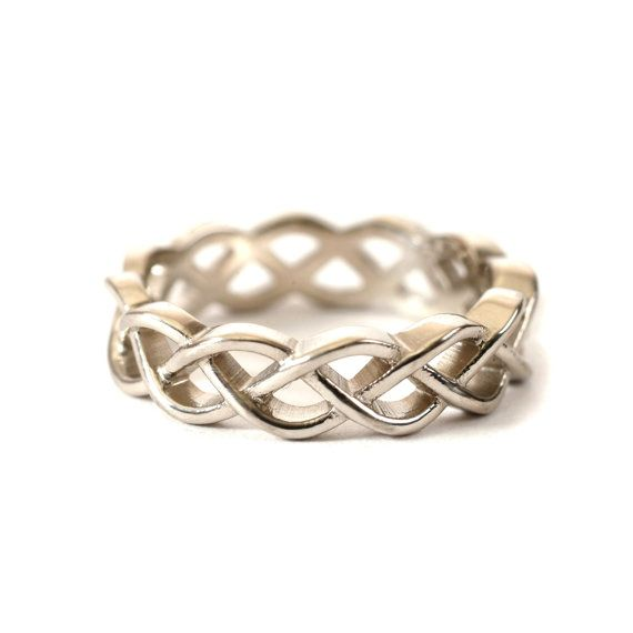 Celtic Wedding Ring With Braided Cut-Through Knotwork Design in Sterling Silver, Made in Your Size CR-221