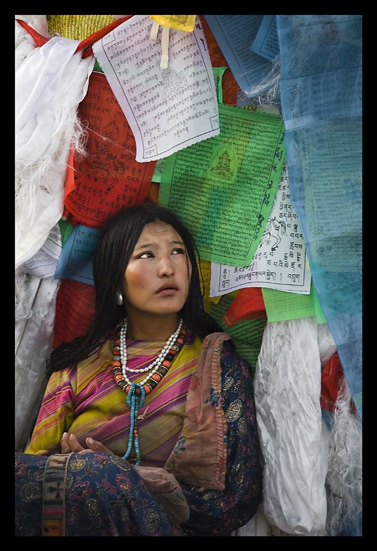 Lhasa, Tibet - selling prayer flags