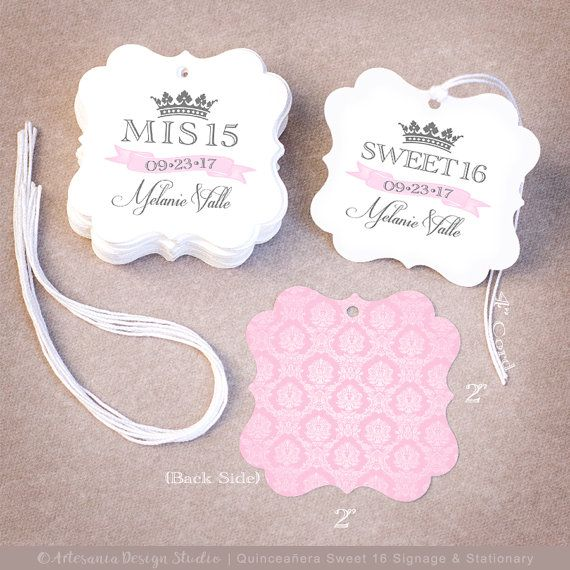 150 Quinceañera Favor Tags  Personalized Mis 15 Sweet by My15DIY