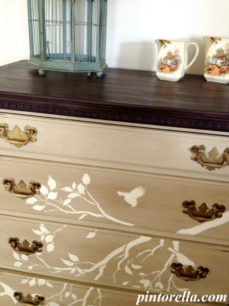Chalk Painting Chest of Drawers - DIY- clever..there are also some stick on wall art with birds and limbs