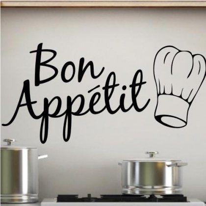 Sticker Bay Sticker mural pour la cuisine Inscription Bon Appétit avec inscription Noir: Professionally computer cut using high quality…