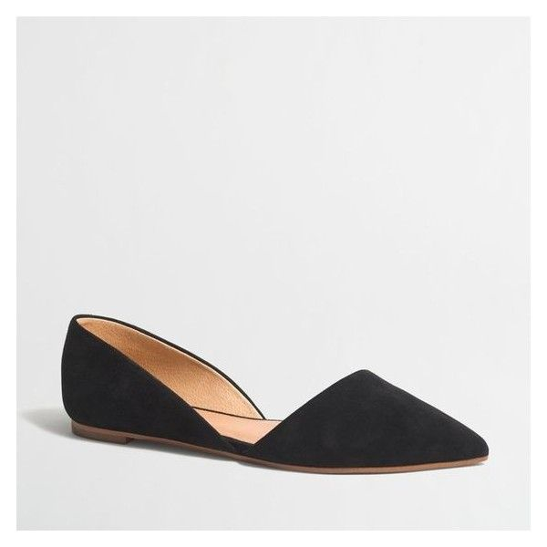 J.Crew Zoe suede d'Orsay flats ❤ liked on Polyvore featuring shoes, flats, j crew flats, flat d orsay shoes, flat pump shoes, suede flats and d'orsay shoes