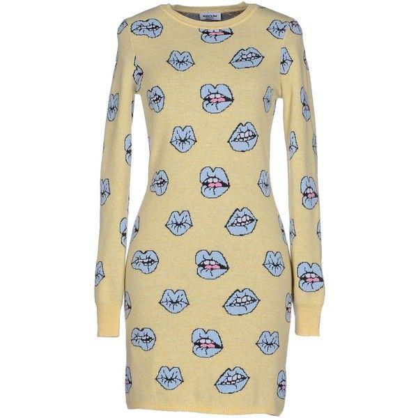 Au Jour Le Jour Short Dress ($320) ❤ liked on Polyvore featuring dresses, light yellow, light yellow dress, short dresses, long sleeve short dress, multicolored dress and long-sleeve mini dress