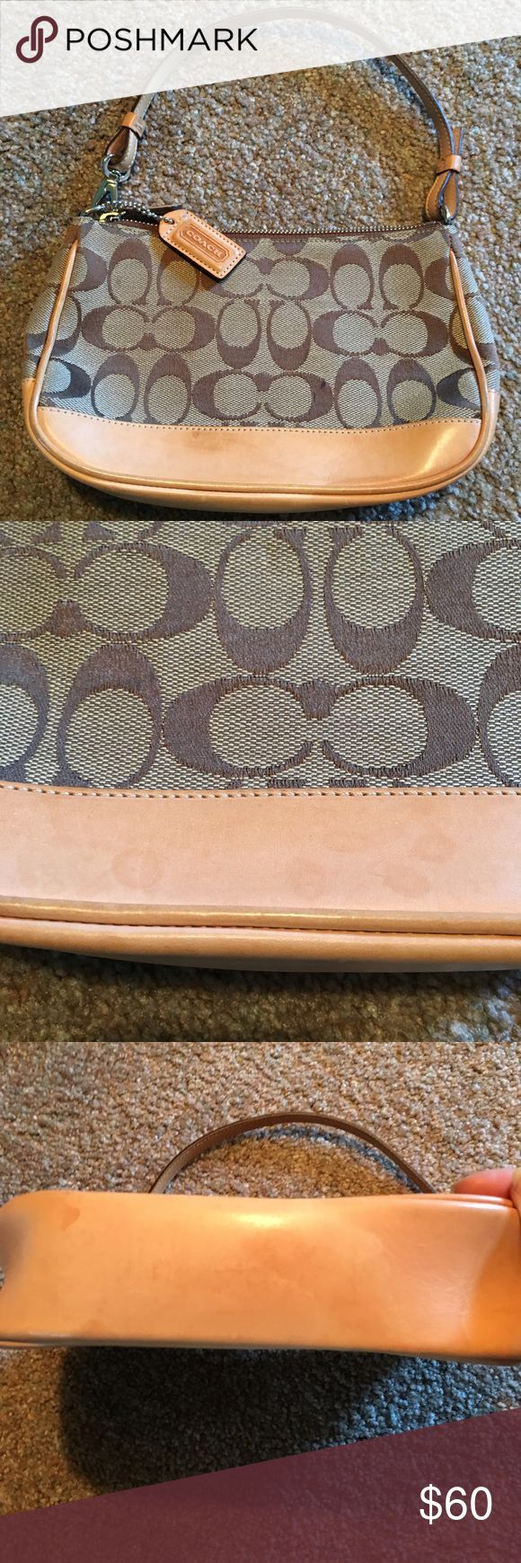 Coach Monogram Mini Shoulder Bag Coach Monogram Mini Shoulder Bag. Colors are Tan and Dark Brown. Some watermarking/minor staining on leather. Corners show some wear. Inside is perfect (no stains or tears). Otherwise, great pre-loved condition. Coach Bags Shoulder Bags