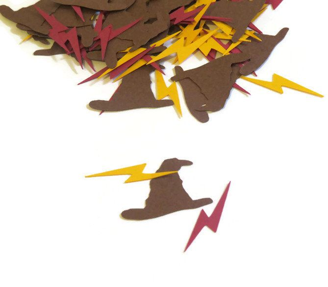 Harry Potter Party Supplies - Sorting Hat and Lightning Scars Confetti - Harry Potter wedding - geekery party - wizard decor - 100 Pieces by PartyParts on Etsy https://www.etsy.com/listing/207929308/harry-potter-party-supplies-sorting-hat