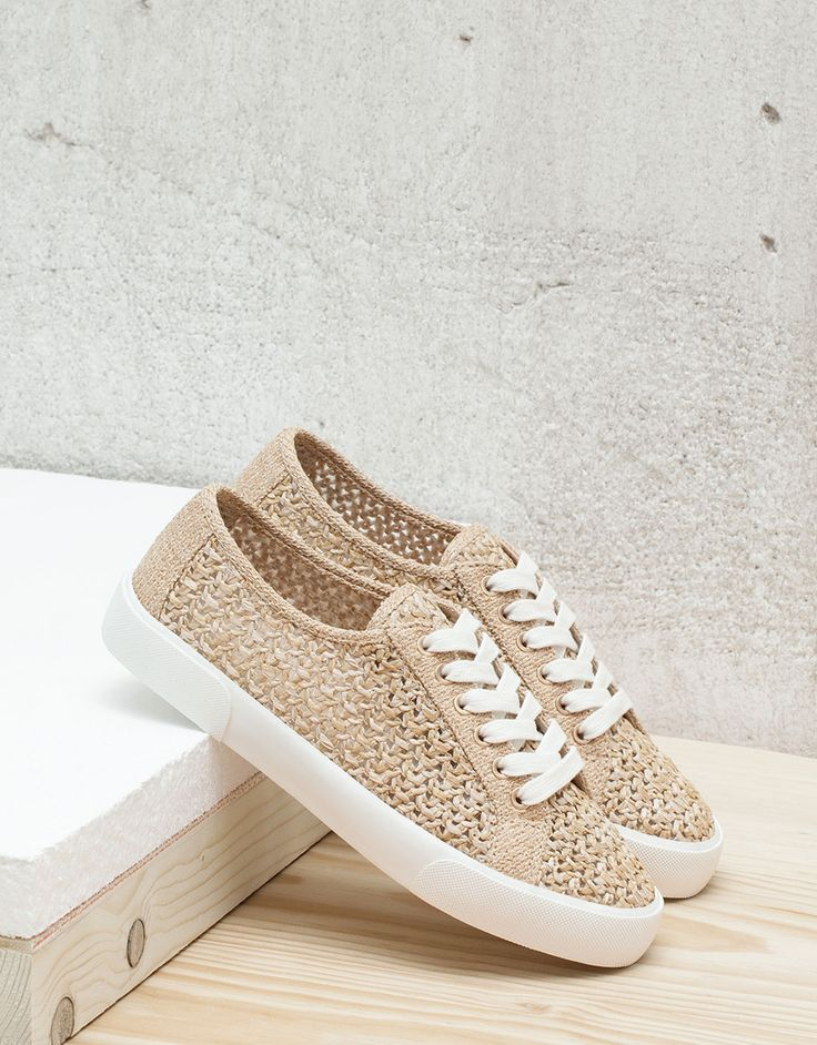BSK braided lace-up fabric sneakers - null - Bershka Indonesia