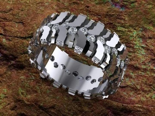 freakin awesome a tire track ring with diamonds in the