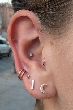 Simple Cute Multiple Ear Piercing Ideas at MyBodiArt.com - Conch Cartilage Pinna Forward Helix Stud Auricle Ring Hoop in 16G Gold Moon Earrings