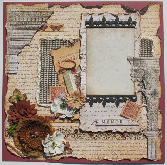 Premade Scrapbook Page 12 x 12 Vintage by DianesNiceties on Etsy