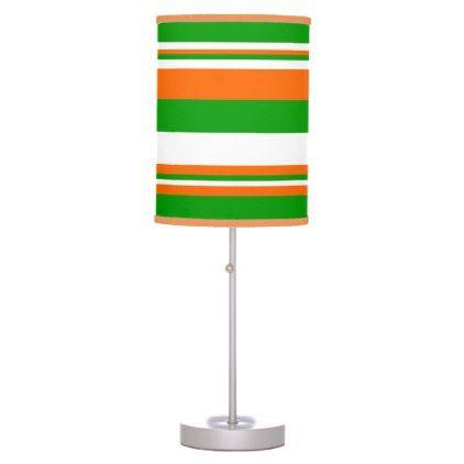 Green White and Orange Stripes Desk Lamp - baby gifts child new born gift idea diy cyo special unique design