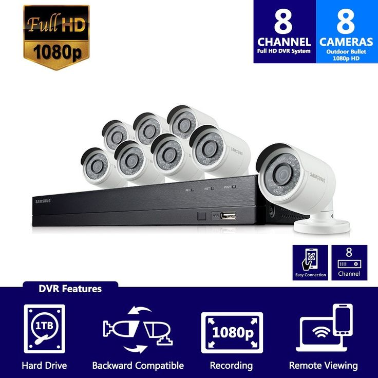 SDH-B74081 - Samsung 8 Channel 1080 Full HD HD Video Security System with 8 Outdoor Cameras, Black
