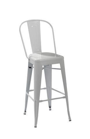 White Replica Tolix High Back Barstool