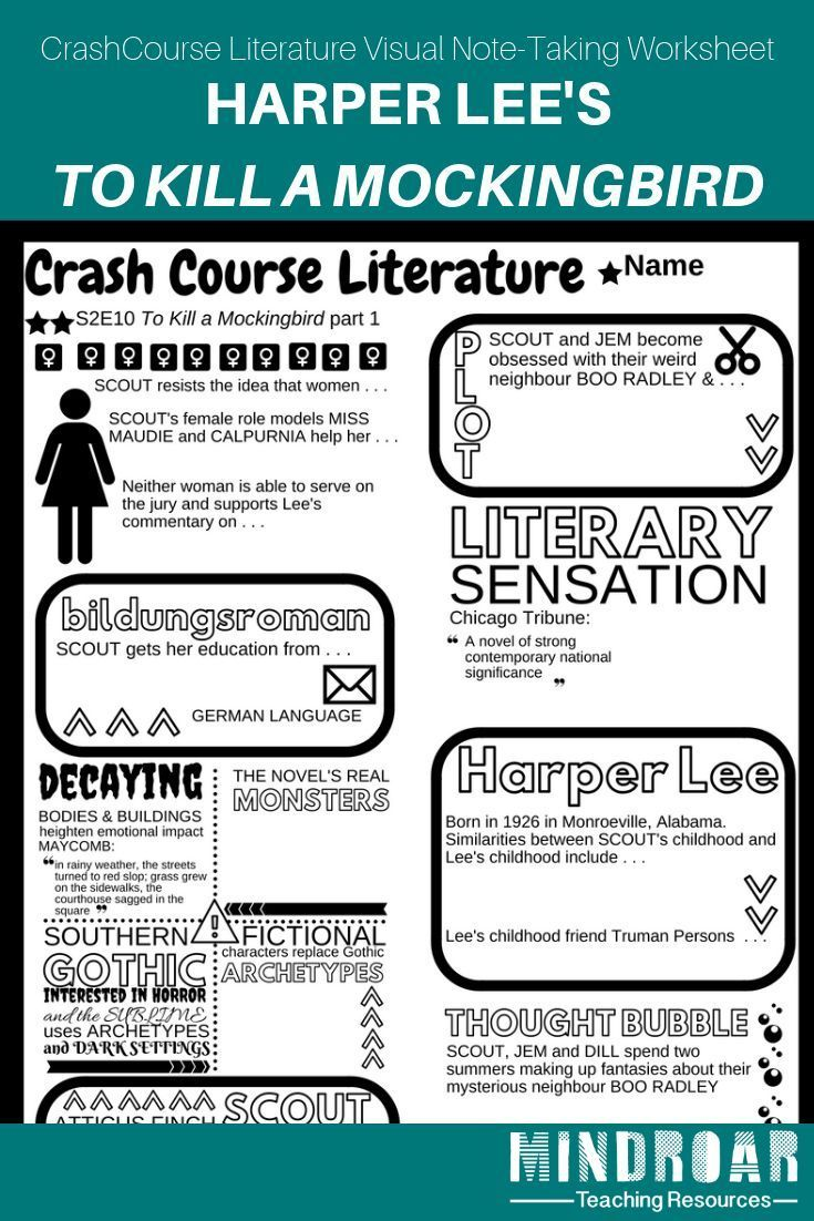 Teaching Harper Lee S To Kill A Mockingbird Engage Your Students Using The Crashcourse Literature Yout Crash Course Literature Visual Note Taking Crash Course