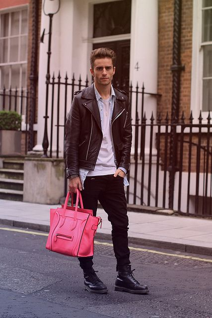 Cool get-up, but what man would actually walk around carrying a pink purse? Maybe I'm just out of touch, but I don't get it.