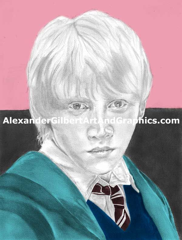 Ron Weasley celebrity artwork by Alexander Gilbert.  Buy prints here: http://fineartamerica.com/featured/ron-weasley--individual-pink-alexander-gilbert.html