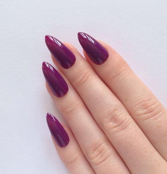 Plum Stiletto Nails