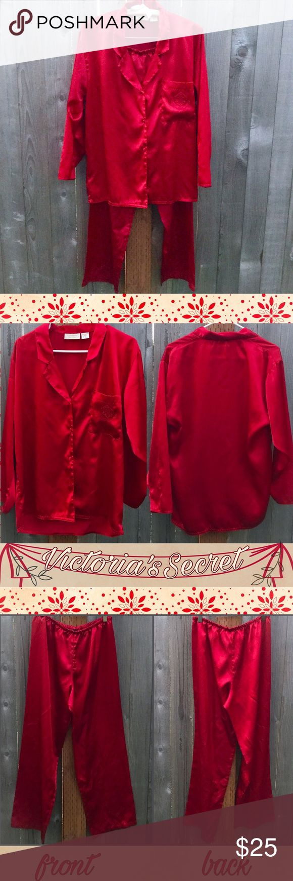 Victoria's Secret Red Satin Pajamas Set / L-XL ❤️ Two piece pajama set by Victoria's Secret in excellent condition! Marked size large but could fit XL as well. Victoria's Secret Intimates & Sleepwear Pajamas