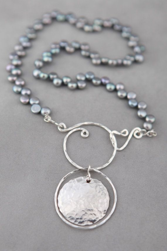 Jennifer Engel Designs - Peacock Freshwater Pearls with Sterling Hammered Circle with Coin Pendant & Handcrafted Sterling Spiral Clasp Necklace, Handcrafted Jewelry