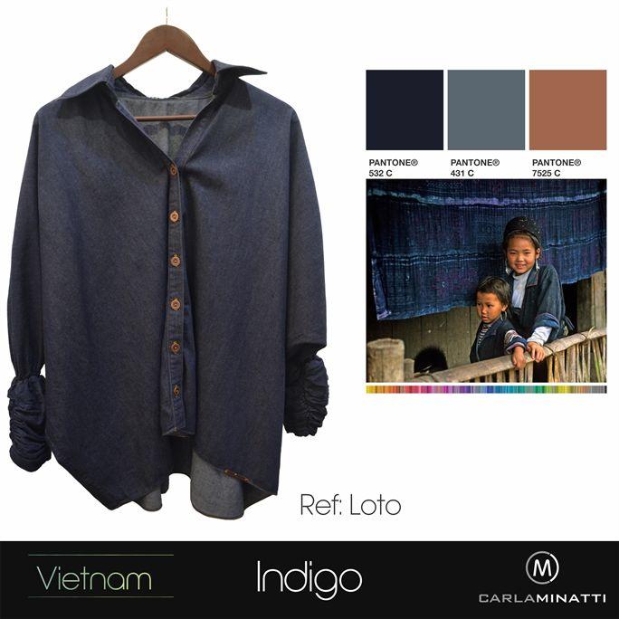 Gran parte de nuestra última colección Vietnam está inspirada en su tribu Hmong quienes utilizan el indigo (tinte natutal) para la mayoría de sus prendas.