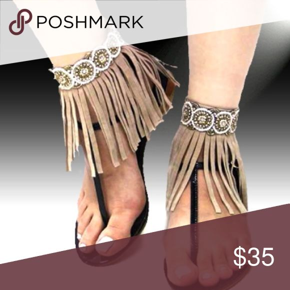 Hand beaded Bohemian Fringe Anklets. Set of 2. OS Hand Beaded Bohemian Fringe Anklets. Set of   2. One size. Tan Fringe, Clear Crystals, Ivory and Antique Gold Seed beads. Velcro fasteners. I also have this in black and dark brown. Let me know if you want pictures of those colors. Jewelry