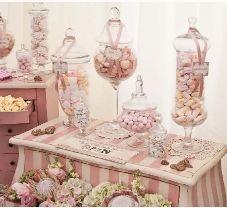 Ice Cream Parlour Sweet Table Pink White Elegant Candy Bar Candy Buffet Wedding Birthday party Communion Event Celebration +++ BUFFET DE GOLOSINAS CARAMELOS DULCES PARA BODA CUMPLEAÑOS QUINCEAÑERA BAUTIZO PRIMERA COMUNION ROSA BLANCO ELEGANTE ROMANTICO