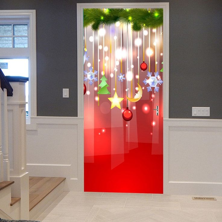 Christmas Hanging Decorations Pattern Door Stickers