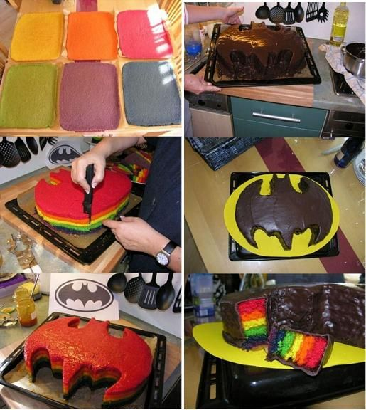How to make Batman Rainbow Cake step by step DIY tutorial instructions, How to, how to do, diy instructions, crafts, do it yourself, diy website, art project ideas