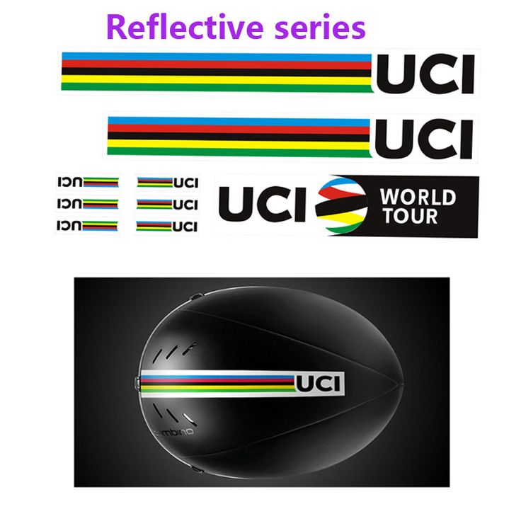 UCI World Championship Champion Rainbow Reflective Bicycle decals Roadway Carrier Helmet Sticker  road bike stickers Reflective  #Affiliate