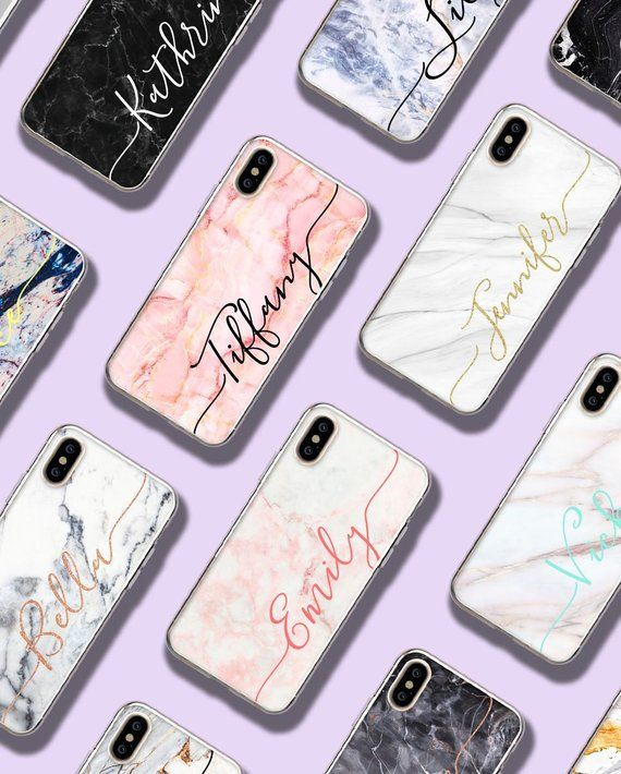 e771e4bb3ceb6 Personalized Marble iPhone X Case Custom iPhone XS Max Case Name ...