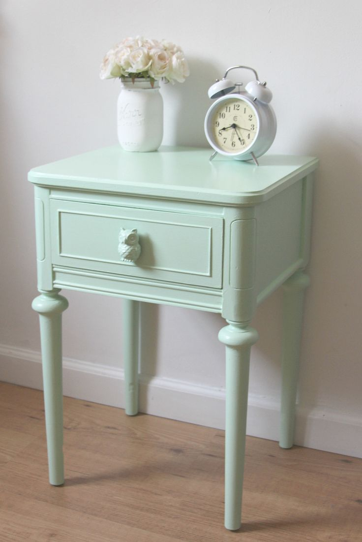 Mint Green Nightstand with Owls
